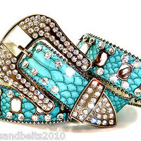 B&B CoWgiRL WeStErN TuRqUoiSe CLeAr DiAmOnD CoNcHo RhInEsToNe LeAtHeR Belt