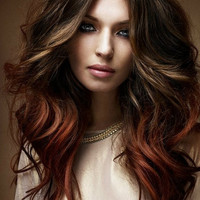 T E R R A cotta/ BRUNETTE ombre / human hair extension/ clip-in hair wefts/  18 inches long /  (10) hair extensions