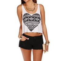 Black/White Tribal Heart Cropped Tank Top