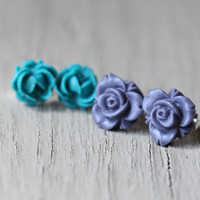 Flower Earring Set : Teal and Purple Floral Studs, Set of Two, Matte, Fake Plugs, Artisan Tree, Bohemian
