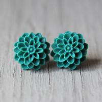 Flower Stud Earrings : Teal Flower Stud Earrings, Sterling Silver Plated Earring Posts, Simple, Fun, PomPom, Matte