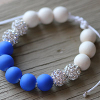 Pave Bracelet : Adjustable Bracelet with White Shambala Beads, Whitewood Beads and Neon Cobalt Blue, White Cotton Cord