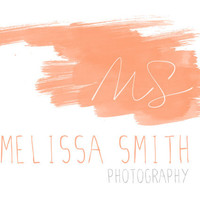 Photography Watermark : Peach, Coral, Signature, Initial, Brush Stroke, Text, Simple, Minimal, Premade Logo Design, Text Based, Photographer