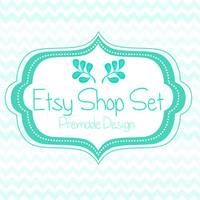 Shop Set : Premade Etsy Graphic Design Set. Modern, Blue Theme with Floral Accent, Chevron Pattern Background