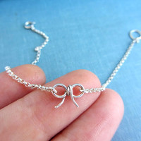 Sterling silver bow charm bracelet, ribbon friendship knot bracelet, bow jewelry