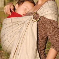 Lite-on-shoulder Baby Sling(Quilt Checker-nude-open tail)
