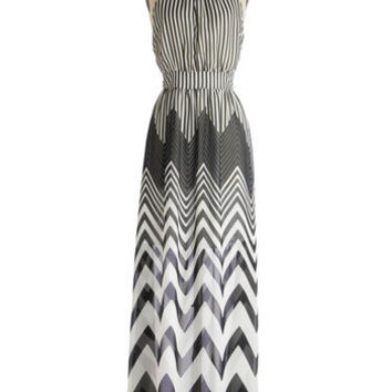 ModCloth Long Halter Maxi Observation Decked Out Dress