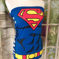 Upcycled Superman Tube Tunic
