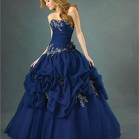 MidnightBlue Sweetheart Embroidery Flower Ball Gown Quinceanera Dress QD086