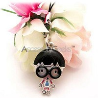 Don't be a geek, own a Geeky Boy w/ Black Glasses Cell Phone Charm/ Strap!