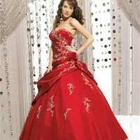 Glamourous Flower Embroidery Taffeta Tulle Ball Gown Quinceanera Dress QD072
