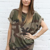 Vintage Camo Army Slouch Green Khaki Boyfriend T Shirt Top from Boutique 73