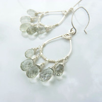 green amethyst earrings in sterling silver - dangle earrings - chandelier earrings - handmade gemstone earrings - artisan