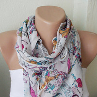 Fun days Printing Chiffon ScarfWhite and BlackRuffle by Periay