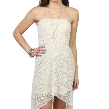 strapless high low lace dress with open bow back - 1000051020 - debshops.com