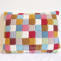 crochet cushion cover Agnes patchwork tiny squares by emmalamb