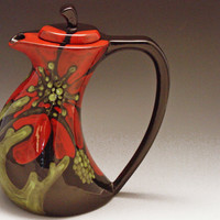 Ceramic Teapot Red Poppy Funky Teapot RP369 by romyandclare
