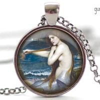 Mermaid Necklace, Mermaid Art Pendant, Fantasy Charm, Sea Life Jewelry (1097)