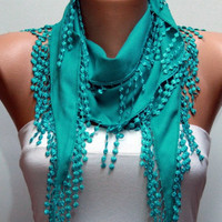 Teal Scarf Pashmina Scarf Headband Necklace Cowl by Fatwoman