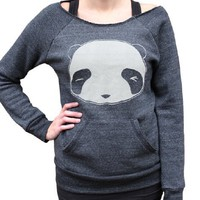 Supermarket - Winking Panda Eco-Fleece Flashdance Sweatshirt from crywolf