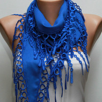 Saxe Blue Scarf Pashmina Scarf Headband Necklace Cowl by fatwoman