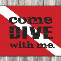 Diver Down Scuba Diving Wood Sign