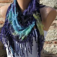 Purple Multicolor Scarf Headband Necklace Cowl with by Fatwoman