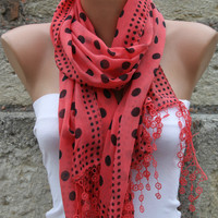 Red Cotton Scarf Headband Necklace  by Fatwoman