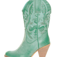Very Volatile Denver Aqua Blue Embroidered Cowboy Boots - $78.00
