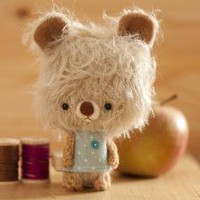 Popy miniature mohair bear collectible toy  made by knittingdreams