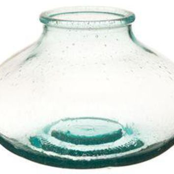 Vietri Recycled Glass Shallow Bottle Vase
