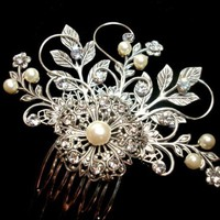Vintage style hair comb, wedding hair comb, fascinator | treasures570 - Wedding on ArtFire