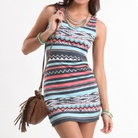Kirra Womens Tribal Body Con Dress