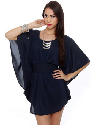 Panoramic View Navy Blue Dress