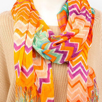 Zigster Scarf in Orange Multi :: tobi