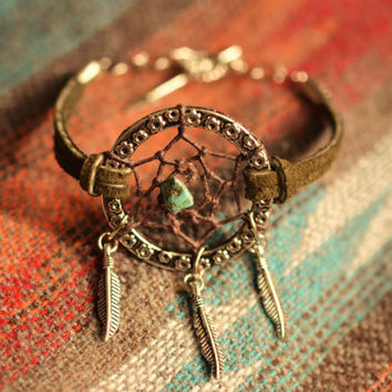 Dreamcatcher Layering Bracelet. NEW Color Olive Suede Dreamcatcher Bracelet. Stackable Bracelet. Boho Jewelry.  Bohemian Bracelet.