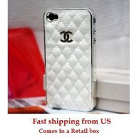 White and Silver Leather designer inspired Iphone 4 Case: Cell Phones &amp; Accessories