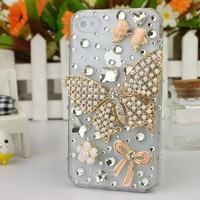 3D Crystal iPhone Case for AT&T Verizon Sprint Apple iPhone 4/4S Pearl Butterfly: Cell Phones & Accessories