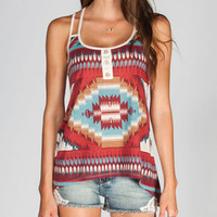 Full Tilt Ethnic Print Womens Henley Multi  In Sizes