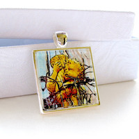 Cherub Pendant digital art necklace 1x1 by twistedpixelstudio