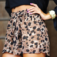 Spotted Leopard Shorts: Black/Brown | Hope's