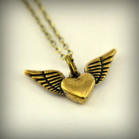 Gold Flying Heart Necklace - Winged Heart Charm Pendant