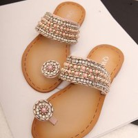 Rhinestone and Beads Flat Sandals z060521