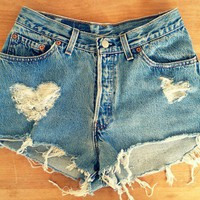 Fashion / Vintage Levis Denim High Waist Cut off Shorts, frayed hearts :)