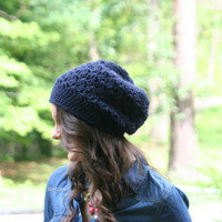 Beanie Slouchy Hat Crochet Slouchy Style Hat Textured HDC Navy