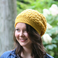 Beanie Slouchy Hat Crochet Slouchy Style Hat Textured HDC Mustard Yellow