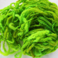 Hand Knit Scarf in Bright Green Super Soft Handspun by bpenatzer