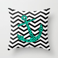 Mint Leopard Chevron Anchor Throw Pillow by M Studio