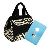 Fit & Fresh Downtown Insulated Designer Lunch Bag, Zebra, 9x6x8 Inches