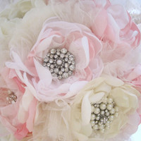 Wedding Bouquet Vintage Inspired Fabric Brooch Bouquet in Pink Ivory and White with Pearls Rhinestones and Lace Custom Made